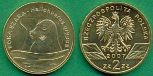 Польша 2 злотых 2007 год серый тюлень